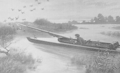 This illustration of a 2 gauge shotgun, or punt gun, was first published in the October, 1911 issue of Science and mechanics magazine.