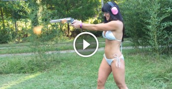Hottie with a body loves this big pistol