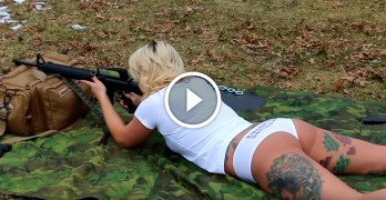 Cailie demonstrates the effect of recoil in cold weather, wait for the rapid fire
