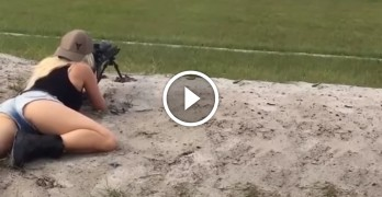 A purely scientific experiment shows the effect of recoil on the female body