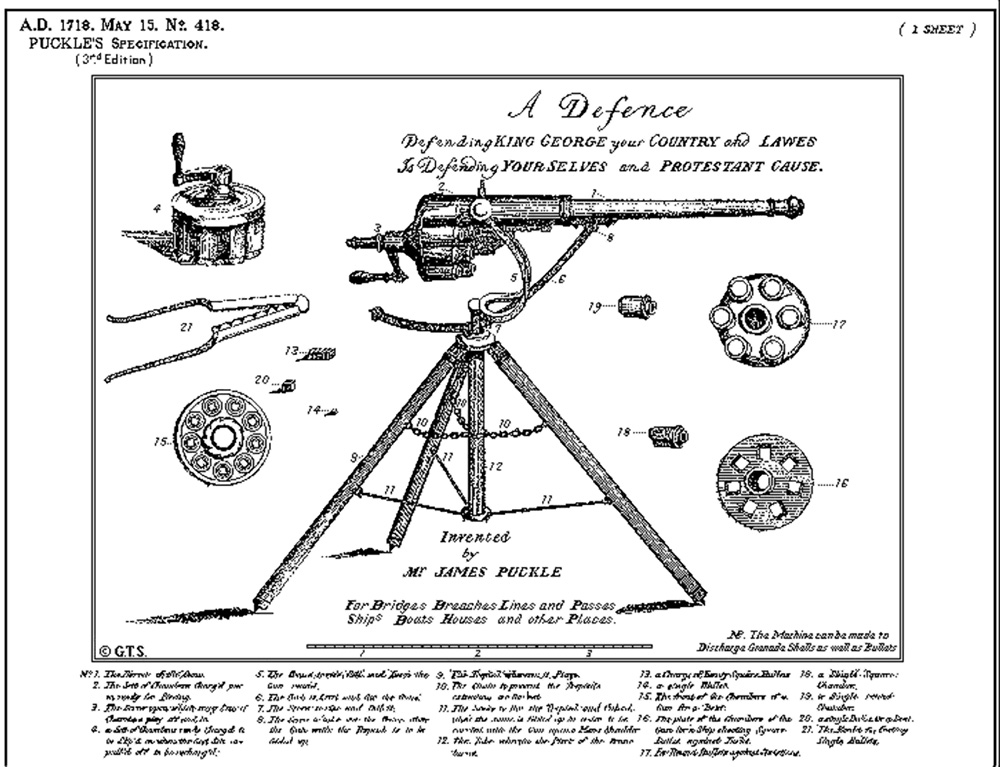 "Patent illustration for James Puckle's ""Defense Gun"" which would later be known as the Puckle Gun."