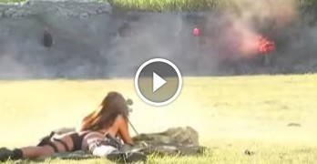 She tries a 50 cal rifle for the first time and shoots it like a BOSS