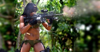 Beautiful American girl in 'tactical' bikini enjoys a full-auto day on the range