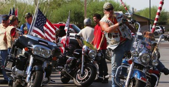 Veterans protecting a fallen marine are accosted by protesters until a patriotic biker club rolls in