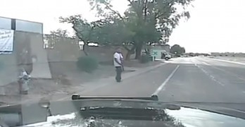Cop hits rifle-wielding maniac with patrol cruiser at high speed