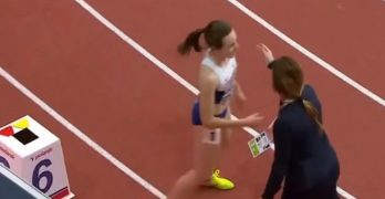Watch this gold medalist's reaction after officials deny her traditional victory lap