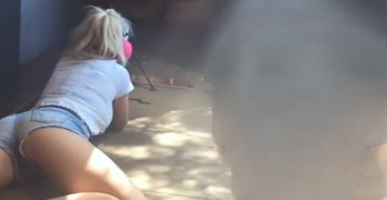 Pair of Daisy Dukes illustrates the jiggle-inducing power of .50 cal recoil