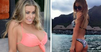 44-year-old Carmen Electra shows off her new line of swimsuits and lingerie