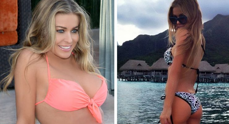 45-year-old Carmen Electra shows off her new line of swimsuits and lingerie