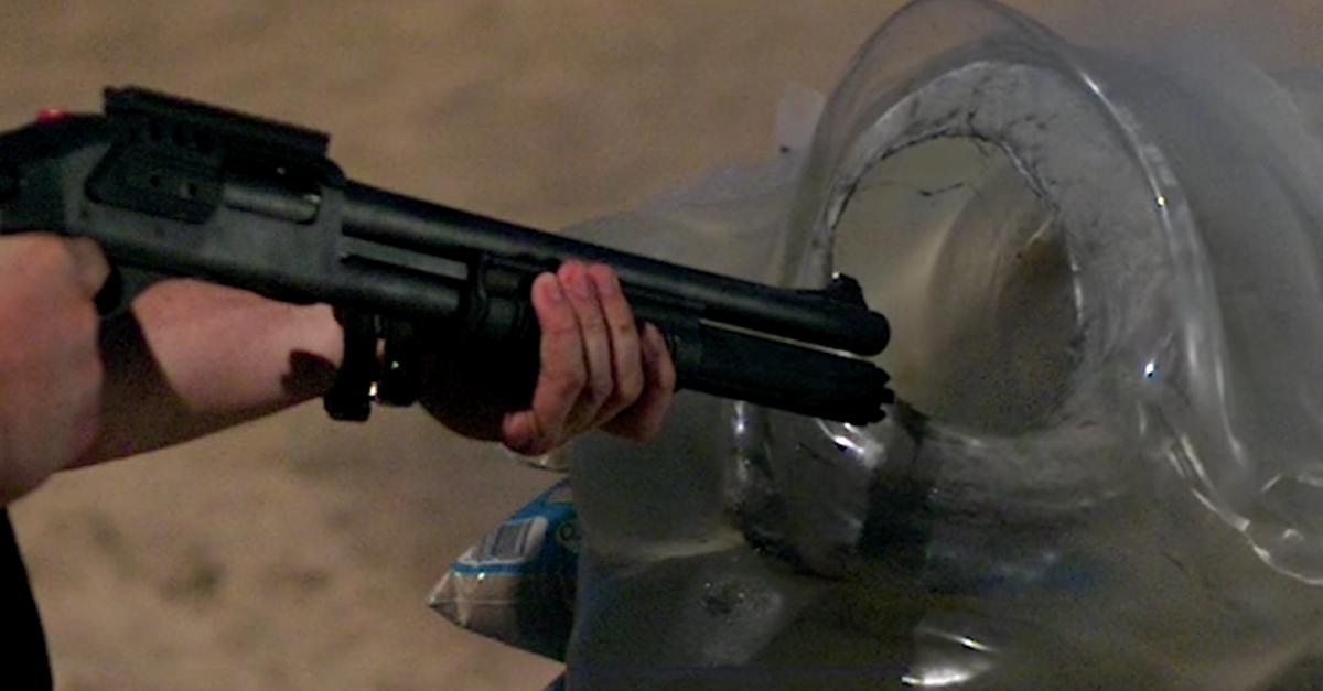 Getting shot at point blank with a shotgun slug