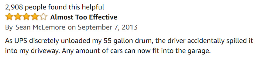 An Amazon user makes a funny review about the 55 gallon drum of lube.