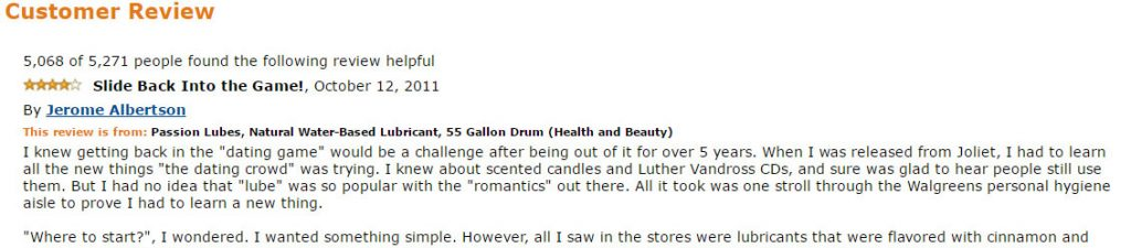 An Amazon customer writes a hilarious review about the 55 gallon drum of lube.
