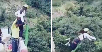 Bungee jump ends in disaster after no one secures the end of her cord