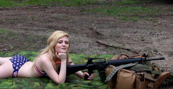 Cute patriot shoots America's most popular rifle