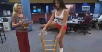 Hooters girl has a special talent involving an inverted bar stool