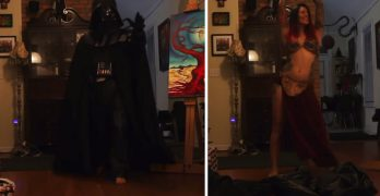 Wife surprises husband with Star Wars strip tease