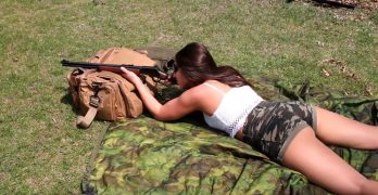 Camo-clad cowgirl tries the Marlin 1894