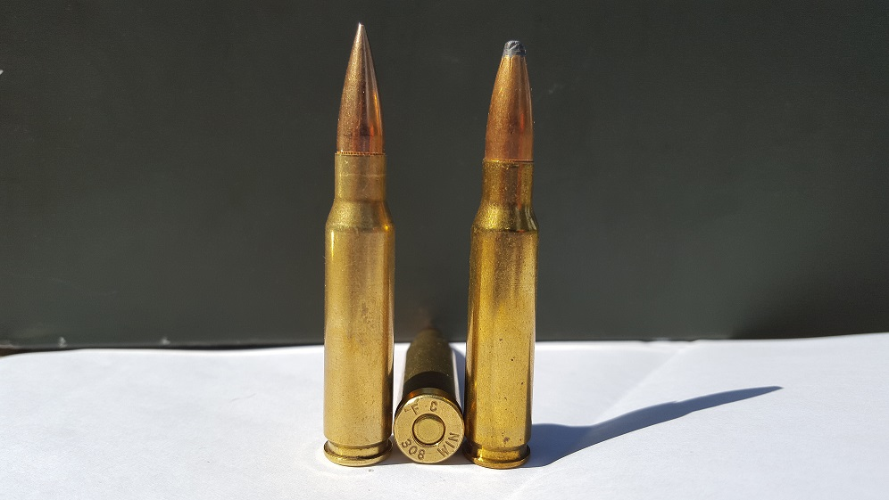 The .308 Winchester, a center fire rifle cartridge commonly used in the United States.