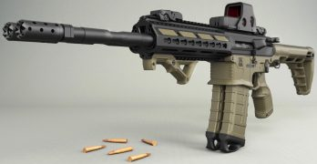 The Gilboa Snake by Silver Shadow is a double barrel AR 15 rifle.
